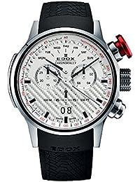 Edox Men's Chronorally 48mm Black Rubber Band Swiss Quartz Watch 38001 TIN AIN