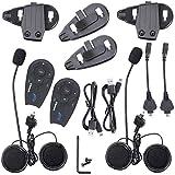 Fodsports 2 Pièces V5 1200m Casque de moto Intercom casque Bluetooth Intercom Convient pour jusqu'à 5 Riders Vêtements Clamp standard 3.5 'Socket Plug Adapter