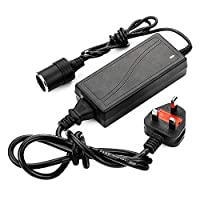 bottlewise Power Supply Cigarette Lighter Socket 100-240V Mains Plug To 12V DC Car Charger Up To 60W 5A Power Adapter for Mini Fridge Cool Box Car Pump Amplifier TV Razor