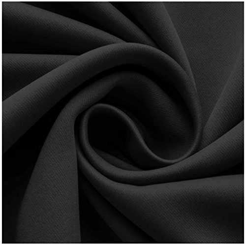 Super Soft Solid Thermal Insulated Blackout Eyelet Curtains (Black, Ring, 90×108) Pair of Ready Made Ring Top / Pencil Pleat Room Darkening Energy Saving Curtain Window Treatments for Living Rooms Bedroom Doors & Nursery Window blinds with 2 Matching Tie Backs (90″ x 108″ (Ring Curtains), Black)
