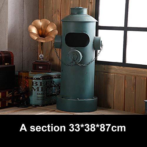 LXY dustbins Retro Hydrant Schmiedeeisen Outdoor mülleimer,abfalleimer Indoor Metall Handwerk, Mülltonne Geeignet Für Bar Cafe Dekoration A Section 33 * 38 * 87cm -