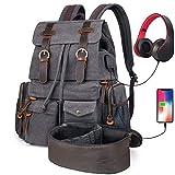 Canvas Camera Rucksack, P.KU.VDSL Vintage Schulrucksack Retro Daypack Backpack Lederrucksack Wanderrucksack Reisetasche Compact System Camera DSLR SLR, Travel (N-Grey Camera Rucksack+USB)