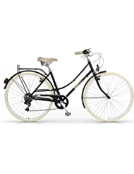 """MBM Elite - Bicicleta de paseo para mujer, diseño vintage clásico, rueda de 28"""", 6 velocidades (Negro)"""