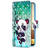 Uposao Kompatibel mit Samsung Galaxy J4 Plus 2018 Handyhülle Bunt Bling Glitzer Glänzend Muster Leder Tasche Schutzhülle Brieftasche Handytasche Lederhülle Klapphülle Case Flip Cover,Cute Panda