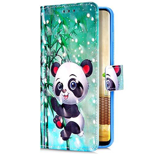 Uposao Kompatibel mit Samsung Galaxy S10 Plus Handyhülle Bunt Bling Glitzer Glänzend Muster Leder Tasche Schutzhülle Brieftasche Handytasche Lederhülle Klapphülle Case Flip Cover,Cute Panda