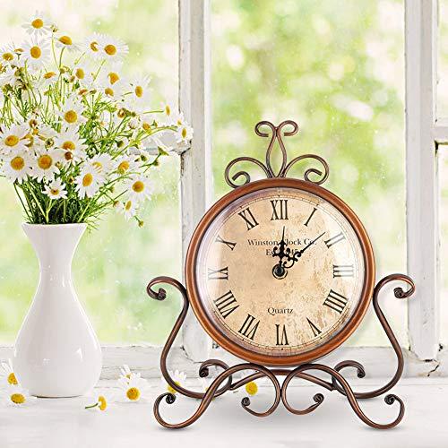 AUNMAS Eisen Kunst Tischuhr Haushalt Vintage Retro Halterung Uhr Stumm Nachttischuhr Antikes Handwerk Desktop Ornament Dekoration