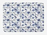 OQUYCZ Japanese Bath Mat, Asian Japanese Ink Paint with Flourishing Flower Patterns Oriental Eastern Imagery Print, Plush Bathroom Decor Mat with Non Slip Backing, 23.6 W X 15.7 W Inches, Blue