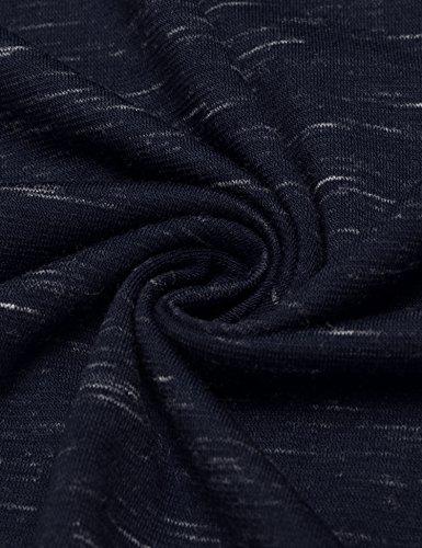 Wixens Herren T-Shirt Kurzarm Melierte Optik Aufgesetzte Brusttasche V-Ausschnitt mit Knöpfe-Dekor Sommershirt 3 Farben S-XXL Blau