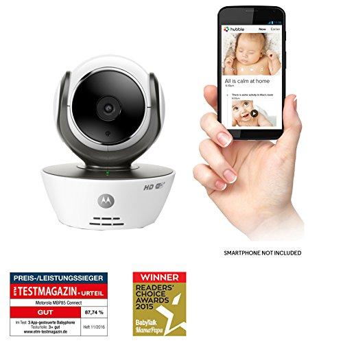 Motorola MBP 85 Connect - Cámara de vídeo vigilabebés con Wi-Fi, modo eco, alertas para movimiento, sonido y temperatura ambiente, color blanco