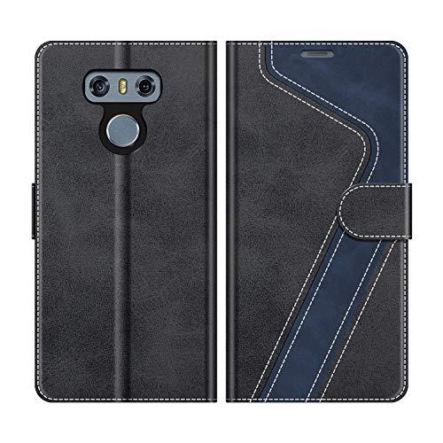 MOBESV Handyhülle für LG G6 Hülle Leder, LG G6 Klapphülle Handytasche Case für LG G6 Handy Hüllen, Modisch Schwarz