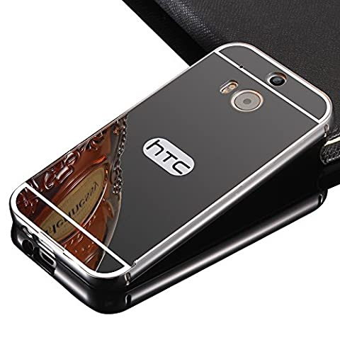 HTC One M8 Mirror Case,Vandot For HTC One M8 Slim Fit Luxury Aluminum Metal Bumper Frame+Mirror Reflective Effect Acrylic Hard Back Shell Protective Cell Phone Cover Case
