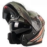 Vollhelme Doppelscheibe Offenes Gesicht Helm Motorrad Helm Unisex Herbst / Winter Jahreszeiten Persönlichkeit Geländewagen,Green-OneSize