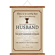 YaYa cafe Worlds Greatest Husband Canvas Love Scroll Greeting Card Certificate Trophy Award for Birthday Gift (15x20-inch)