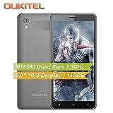 TianranRT Oukitel C10,5.0inch 18: 9 Display 3G Smartphone 1 GB + 8 GB MTK6580 Quad Core 2000mAh