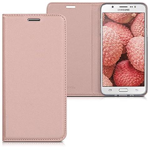 kwmobile Flip cover pour Samsung Galaxy J7 (2016) en or rose avec revêtement en cuir synthétique et ouverture