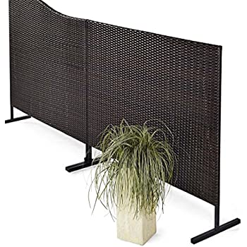 stellwand sichtschutz terrasse kunstrattan braun schwarz 150 x 4 5 x 130 cm garten. Black Bedroom Furniture Sets. Home Design Ideas