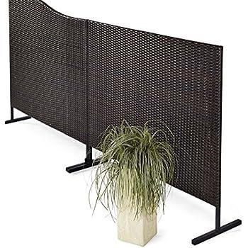 stellwand sichtschutz terrasse kunstrattan braun schwarz 150 x 4 5 x 130 cm garten. Black Bedroom Furniture Sets. Home Design Ideas