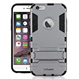 #6: Iphone 6 Plus Case [Kickstand Series] Slim Hybrid Armor Protective Cover Bumper Case For Iphone 6 Plus Grey