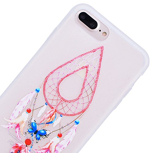 HB-Int für iPhone 7 Plus Weich Silikon Hülle Licht Durchlässig Transparent Ultra Dünn Schutzhülle Einhorn Stern Flexible Full Body Case Bumper Shell Handytasche Dream Catcher