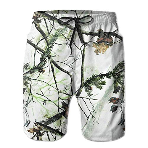 KKONEDS White Realtree Camo Casual Men's Quick-Dry Board Shorts Beach Shorts,Personality Beach Shorts Trucks Pants Mens Quick Dry Beach Shorts X-Large -