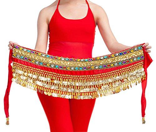 Küssen U 248 Gold Münzen Dekoriert Bauch Tanzen Hüfte Schal Wickeln Gürtel Tänzer Rock Kostüm (Rot) (Tänzer Kostüme Für Frauen)