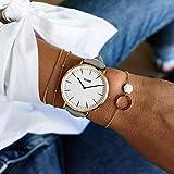 Cluse Damen-Armbanduhr Analog Quarz Leder, grau, CL18015