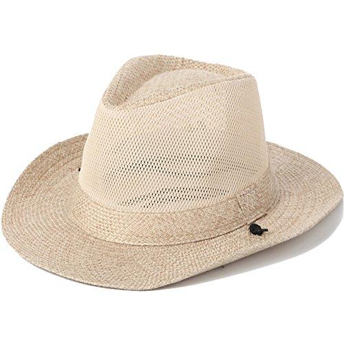 Dongyd Sonnenhut, Herren Sommer Outdoor-Reisen Mesh Breath Sonnenhut Visor Wide Eaves Strand Hut mit Kinnband (Farbe : Beige) -