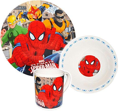 alles-meine.de GmbH 3 TLG. Geschirrset -  Ultimate Spider-Man  - Porzellan - Trinktasse + Teller + Müslischale - Kindergeschirr Keramik Frühstücksset - für Kinder Mädchen & Jun..