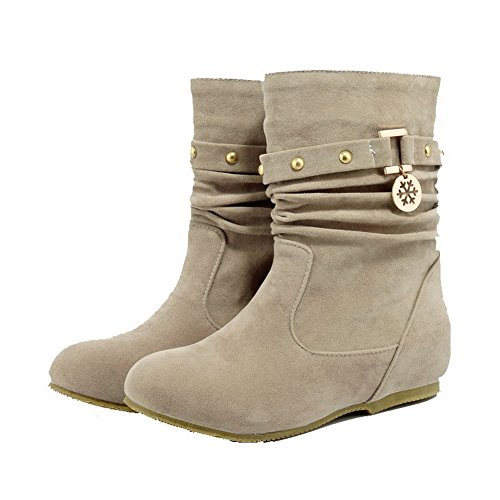 Voguezone009 Femmes Pure Low Heel Pull Bottes Shimmer Beige À Bout Rond