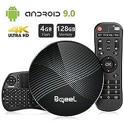 Bqeel Android TV Box Smart Box mit Tastatur U1 MAX【4G+128G】 Android 9.0 TV Box mit RK3328 Quad-Core 64bit Cortex-A53 /WiFi 2.4G/5.0G /Bluetooth 4.0/ 4K HD/ USB 3.0/ H.265 Smart tv Box