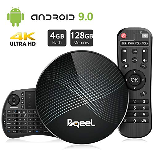 Bqeel Android 9.0 TV Box avec Mini Clavier Touchpad 【4GB+128GB】 Bluetooth 4.0 U1 Max TV Box USB 3.0 RK3328 Quad-Core 64bit Cortex-A53 Wi-FI 2.4G/5G LAN100M 4K Box Android TV Smart TV Box Boîtier TV