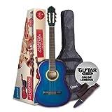 Ashton Klassische Gitarre mit Accessoires Volle Größe, klassisch blau