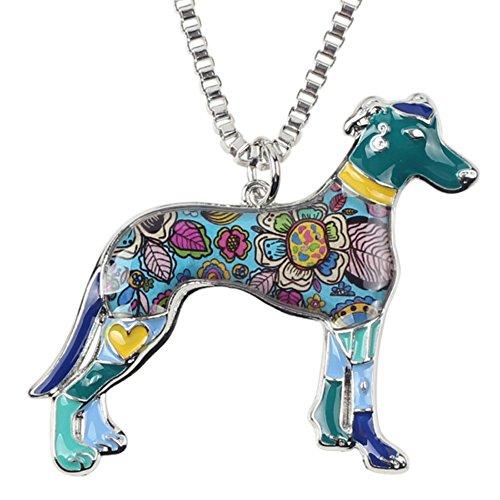 Galgo Espanol Windhund Emaillierter Anhänger mit Legierung Kette Halskette mit einzigartig Anhänger für Frauen, Mädchen und Kinder (Blau)