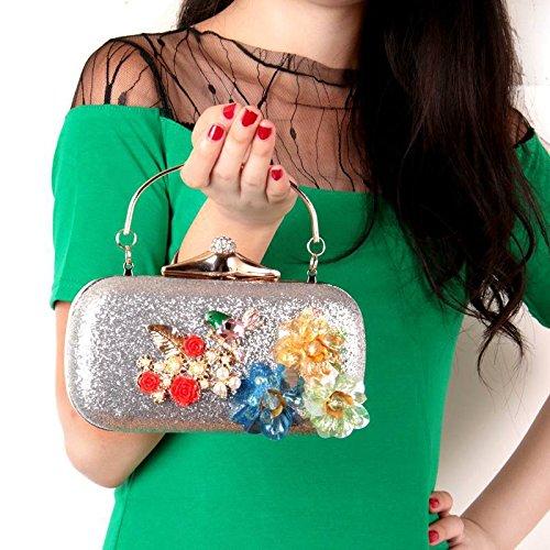 Handtasche solide Harz Blume Abendessen Beutel Perlen Blumen Braut Abend Tasche Handtasche black