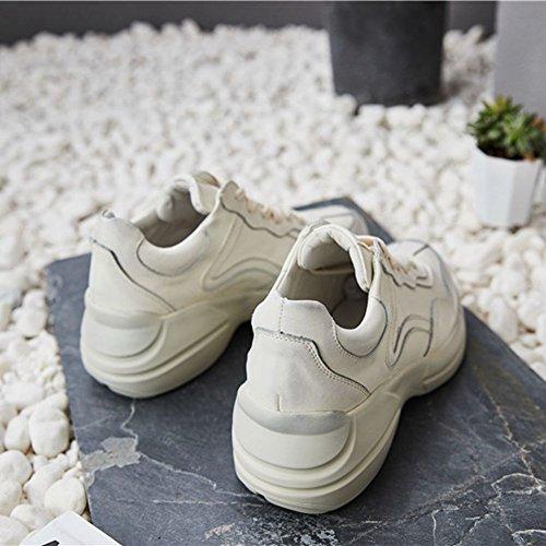 Che Di Moda Sport Esecuzione Traspirante Donna 39 Casual Stile Da Beige Tennis Scarpa Sneakers Jrenok Cammina 35 Pizzo In Pelle 857fwq7P