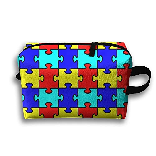 Jigsaw Puzzle Toy Portable Travel Makeup Bag,Storage Bag Portable Ladies Travel Square Cosmetic Bag