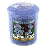 YANKEE CANDLE Samplers Candele Votive Garden Sweet Pea, Cera, Blu, 4.5 x 4.5 x 5.3 cm