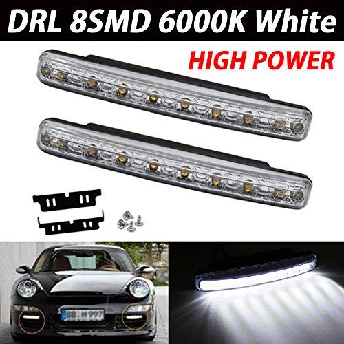 Taben, Set di lampadine a LED COB DRL, impermeabili, in alluminio, alta potenza da 6W, 12 V, 6000K, luci diurne sottili per fari auto, SUV, berline, coupé, colore: bianco xeno, confezione da 2