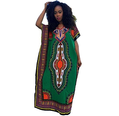 Medium : Ularma Women Fashion African Print Dress Casual Straight Print Kaftan...