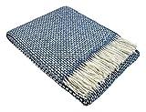 STTS International Wohndecke Wolldecke 140 x 190 cm Tagesdecke Kuscheldecke sehr weiches Plaid Roma Blau-Weiß