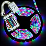 Waterproof LED Strip Lights Only, LED Tape Without Plug, iNextStation 5M RGB SMD Color Changing Flexible Waterproof 300 LED Strip Light with 24 Key IR Remote Control for Kitchens,Bedroom,Home Led Lighting Bars,Restaurants,For Car,Garage (3528 RGB)