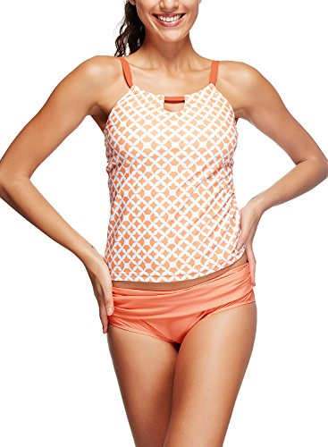 Azue Damen Tankini Gr. XX-Large, Cute Orange Grid (Tall And Womens Clothing Big)