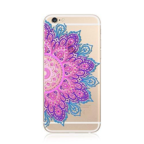 Coque iPhone 6 6s Housse étui-Case Transparent Liquid Crystal en TPU Silicone Clair,Protection Ultra Mince Premium,Coque Prime pour iPhone 6 6s-Mandala-New-style 23 18