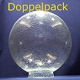 Doppelpack - 2 Kugel Blasenglas Ersatzglas Lampenschirm Glas f.Außenleuchten Ø230mm mit Kragenrand Ø90mm