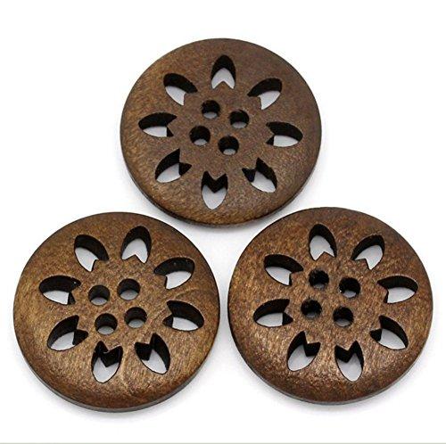 lameida 50PCS Holz-Plateau Peep Toe rund Tasten Farben sortiert Tasten mit 2Loch für Nähen DIY, 25mm - Peep-toe-taste