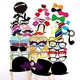Moonli 58pièces Photo Booth Accessoires DIY Kit pour fête de Mariage réunions Anniversaire, fête, Mariage, diplôme avec Moustache sur Une Canne, Chapeaux, Lunettes, etc....