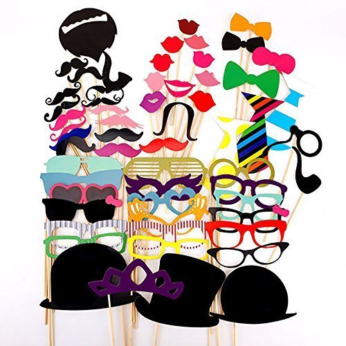 MoonLi 58 Piece Photo Booth Props DIY Kit for Wedding Party Reunions Birthdays, Party, Wedding, Graduation with Mustache on a stick, Hats, Glasses, etc (58)