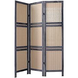 Rebecca Srl Separadores Biombo 3 Paneles Madera Tela Gris Beige Estilo Vintage Baño Dormitorio (Cod. 1516)
