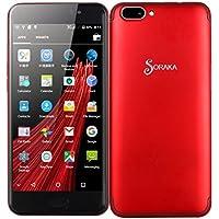 SORAKA Unlocked Smartphone 5,5 pulgadas Android 5.1 Tarjeta de memoria 64G ROM 16GB + RAM 1GB MTK6580A Pantalla HD (720/1280) (Rojo)