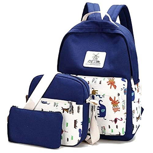 YiLianDa Donna Zaino Di Tela Zaino Ragazza Borsa Backpack Women Schoolbag 3 in 1 Scuro Blu